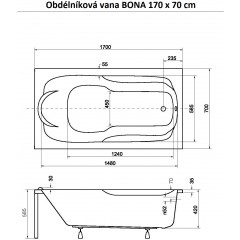Obdélníková vana BONA 170 x 70 cm