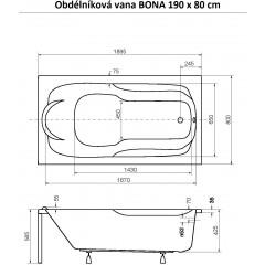 Obdélníková vana BONA 190 x 80 cm