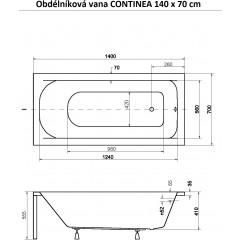 Obdélníková vana CONTINEA 140 x 70 cm