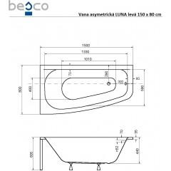 Asymetrická vana LUNA 150 x 80 cm