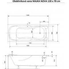 Obdélníková vana MAJKA NOVA 120 x 70 cm