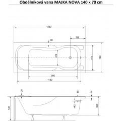 Obdélníková vana MAJKA NOVA 140 x 70 cm