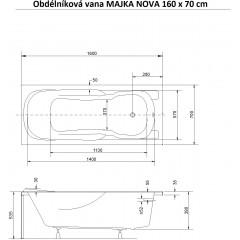 Obdélníková vana MAJKA NOVA 160 x 70 cm