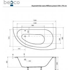 Asymetrická vana MILENA 150 x 70 cm