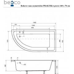 Asymetrická rohová vana PRAKTIKA 140 x 70 cm