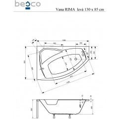 Asymetrická rohová vana RIMA 130 x 85 cm