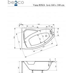 Asymetrická rohová vana RIMA 160 x 100 cm