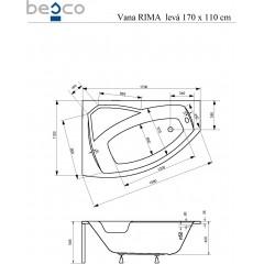 Asymetrická rohová vana RIMA 170 x 110 cm