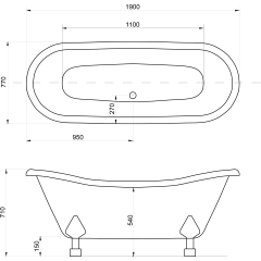 Amelia 190x77 cm volně stojící koupací vana