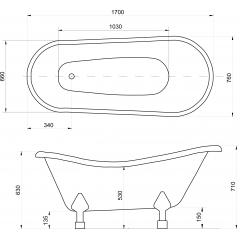 OTYLIA 170x77cm  volně stojící koupací vana