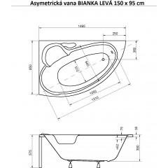Asymetrická vana BIANKA 150 x 95 cm