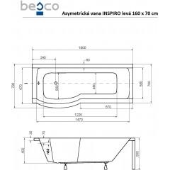 Asymetrická vana s jednodílnou zástěnou INSPIRO 160 x 70 cm