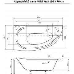 Asymetrická vana MINI 150 x 70 cm