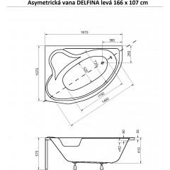 Asymetrická vana DELFINA 166 x 107 cm