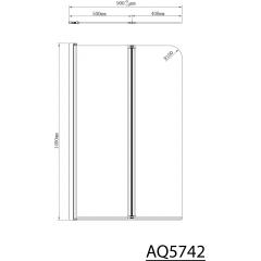 AQUALINE - WILA vanová zástěna 900x1400 mm skládací, chrom, čiré sklo (AQ5742)