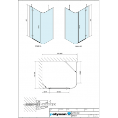POLYSAN - VITRA LINE zástěna, obdélník, zaoblený roh 1000x800mm, pravá, čiré sklo (BN2215R)