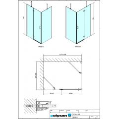 POLYSAN - VITRA LINE zástěna, obdélník 1200x900mm, levá, čiré sklo (BN5615L)