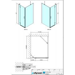 POLYSAN - VITRA LINE zástěna, obdélník 800x1000mm, pravá, čiré sklo (BN8515R)
