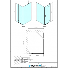 POLYSAN - VITRA LINE zástěna, obdélník 900x1200mm, pravá, čiré sklo (BN9615R)