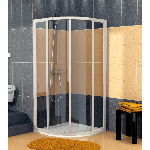 SanSwiss ECOR 50 100 01 07 Sprchový kout čtvrtkruhový 100×100 cm, matný elox/sklo