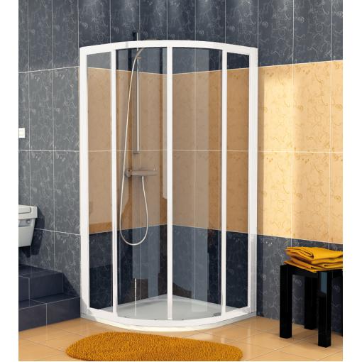 SanSwiss ECOR 50 100 04 07 Sprchový kout čtvrtkruhový 100×100 cm, bílá/sklo
