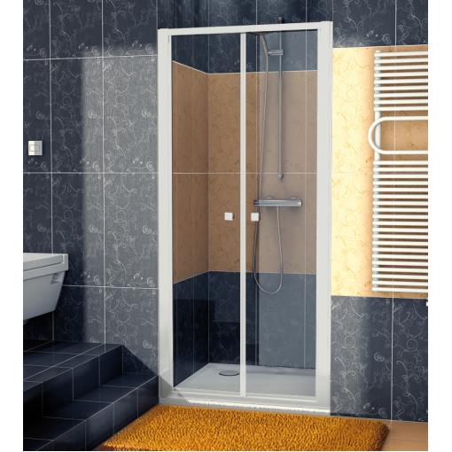 SanSwiss ECP2 0900 01 07 Dvoukřídlé dveře 90 cm, matný elox/sklo