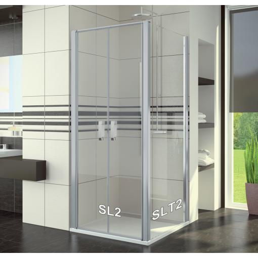 SanSwiss SL2 1200 01 07 Sprchové dveře dvoukřídlé 120 cm, matný elox/sklo