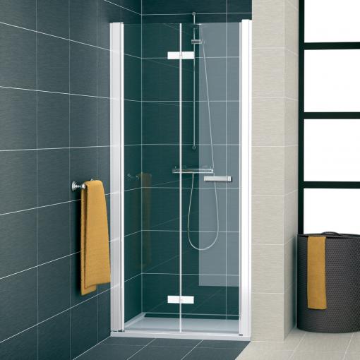 SanSwiss SLF1G 1200 04 07 Sprchové dveře dvoudílné skládací 120 cm levé, bílá/sklo