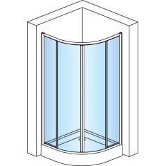 SanSwiss ECOR 50 090 01 07 Sprchový kout čtvrtkruhový 90×90 cm, matný elox/sklo