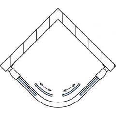 SanSwiss TOPR 50 090 01 07 Sprchový kout čtvrtkruhový 90×90 cm, matný elox/sklo