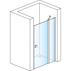 SanSwiss SL13 1400 01 07 Sprchové dveře jednokřídlé s pevnou stěnou 140 cm, matný elox/sklo