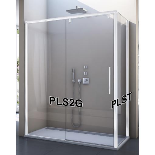 SanSwiss PLS2D 170 04 07 Sprchové dveře posuvné jednodílné 170 cm, pevný díl vpravo, bílá/sklo