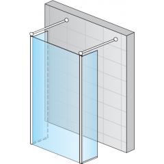 SanSwiss FUT2 1200 50 07 Pevná stěna s 2 krátkými otočnými stěnami 120 cm, aluchrom/sklo