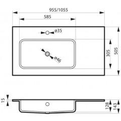 Nábytkové umyvadlo z litého mramoru ENO s odkládací plochou, levá varianta, 105,5x50,5cm