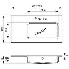 Nábytkové umyvadlo z litého mramoru ENO s odkládací plochou, pravá varianta, 105,5x50,5cm