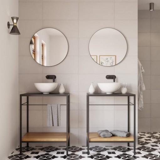 Kulaté zrcadlo VALO Slim 80cm,černé