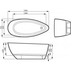 Koupací vana z litého mramoru SWING 159x70,5 cm