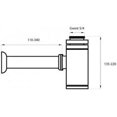 Kulatý sifon 5/4 pro umyvadla a bidety, chrom