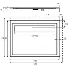 Sprchová vanička akrylátová LISTO, obdĺžnik, 120x80x6,5cm