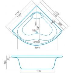 Akrylátová rohová vana GLORIA 1570x1570 mm 9100000