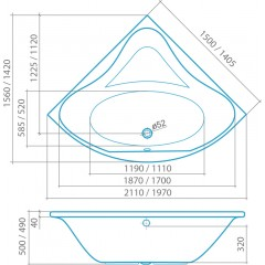 Akrylátová rohová vana iBATH CORNER NEO 1400x1400 mm 9120000