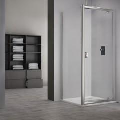 Sprchový kout obdélník MDO1+MB - otevírací dveře a pevná stěna Čtvercový 800x800 mm MDO1-80-MB80
