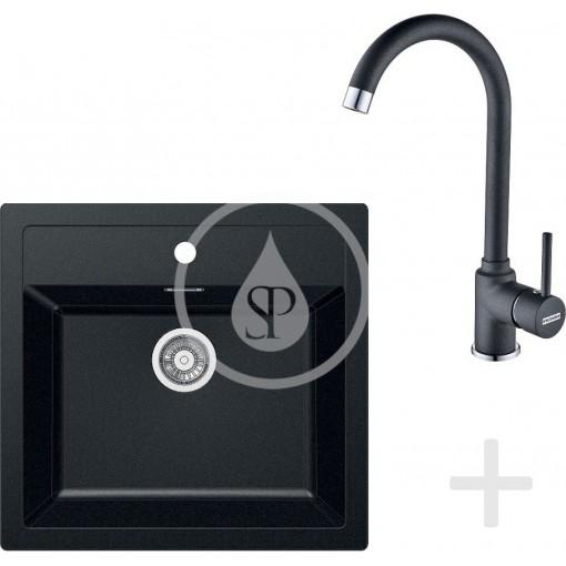 Franke Kuchyňský set T25, tectonitový dřez SID 610, černá + baterie FP 9000, onyx NEW 114.0366.029