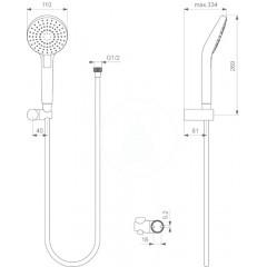 Ideal Standard Sprchová souprava Circle 110, hadice s ruční sprchou, 3 proudy, chrom B2404AA