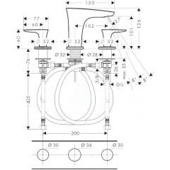 Hansgrohe Tříotvorová umyvadlová baterie 100 s odtokovou soupravou Push-Open, chrom 15073000