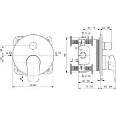 Ideal Standard Vanová baterie pod omítku, chrom A6725AA