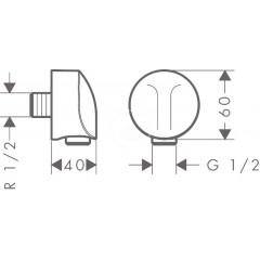 Hansgrohe Přípojka hadice E bez zpětného ventilu, chrom 27454000