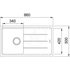 Franke Fragranitový dřez BFG 611-86, 860x500 mm, bílá-led 114.0494.912