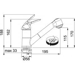 Franke Dřezová baterie s výsuvnou sprškou a přepínačem FN 0642 ECO, chrom 115.0380.642