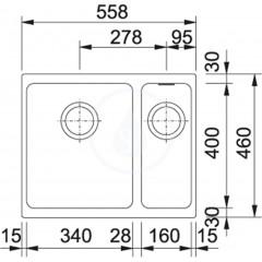 Franke Fragranitový dřez KBG 160/2, 558x460 mm, kašmír 125.0504.119